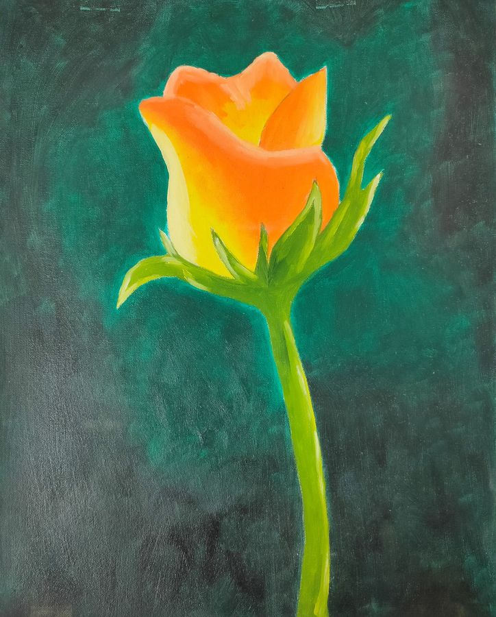 rose oil painting, 16 x 20 inch, swati nanda,16x20inch,canvas,paintings,flower paintings,paintings for living room,paintings for office,paintings for hotel,paintings for living room,oil color,GAL02560938509
