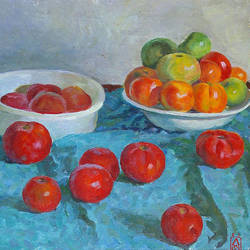 tomatoes, 24 x 20 inch, moesey li,still life paintings,paintings for dining room,canvas,oil paint,24x20inch,GAL07183851