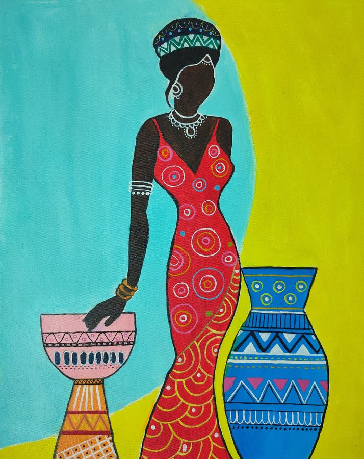 tribal painting, 16 x 20 inch, swati nanda,16x20inch,canvas,paintings,abstract paintings,paintings for living room,paintings for bedroom,paintings for office,paintings for hotel,oil color,GAL02560938511