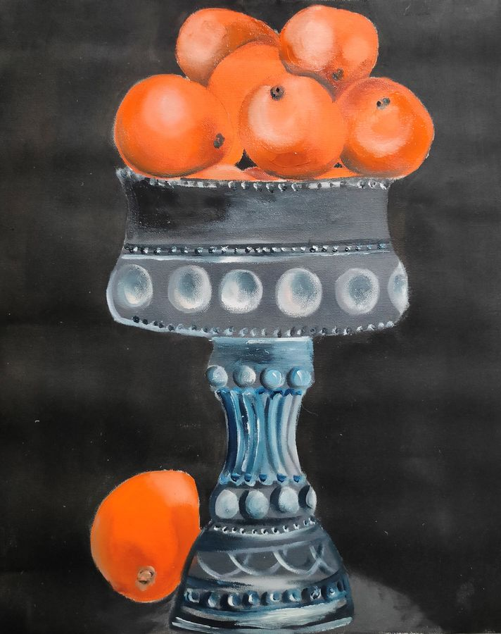 bowl of oranges, 16 x 20 inch, swati nanda,16x20inch,canvas,paintings,still life paintings,realism paintings,paintings for dining room,paintings for living room,paintings for kitchen,oil color,GAL02560938513