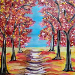 fall, 16 x 20 inch, swati nanda,16x20inch,canvas,paintings,landscape paintings,nature paintings | scenery paintings,paintings for living room,paintings for bedroom,paintings for office,paintings for hotel,oil color,GAL02560938514