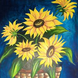 sunflower, 17 x 12 inch, ratna bose,17x12inch,thick paper,flower paintings,paintings for living room,paintings for living room,watercolor,paper,GAL02197838515