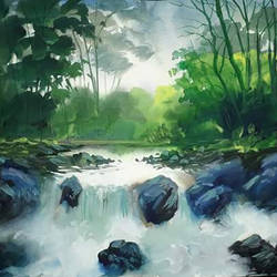 nature art, 16 x 12 inch, lipimita biswas,16x12inch,thick paper,paintings,nature paintings   scenery paintings,paintings for living room,watercolor,GAL02674838516