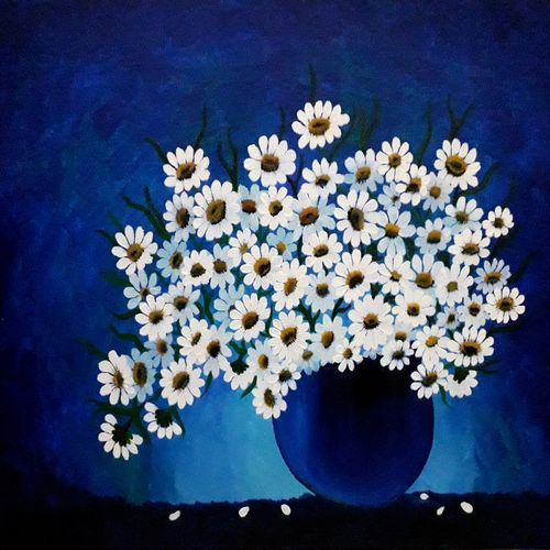 daisies, 16 x 20 inch, divya sumesh,16x20inch,canvas board,paintings,abstract paintings,flower paintings,paintings for dining room,paintings for living room,paintings for bedroom,paintings for office,paintings for kids room,paintings for hotel,paintings for kitchen,paintings for school,acrylic color,GAL02568838519