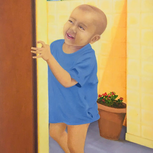 curious child, 24 x 36 inch, rajesh sharma,portrait paintings,paintings for bedroom,canvas,oil,24x36inch,GAL05083852