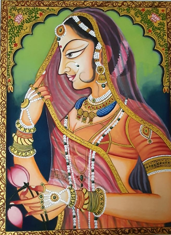 elegance , 12 x 16 inch, minakshi  sharma,12x16inch,cloth,paintings,figurative paintings,folk art paintings,paintings for dining room,paintings for living room,paintings for hotel,natural color,poster color,GAL02694938526