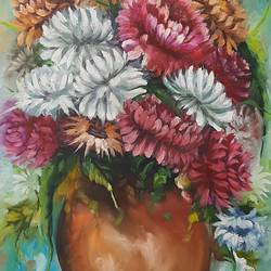 flowers , 18 x 36 inch, minakshi  sharma,18x36inch,canvas,paintings,flower paintings,impressionist paintings,paintings for dining room,paintings for living room,paintings for office,paintings for hotel,paintings for school,paintings for hospital,oil color,GAL02694938530