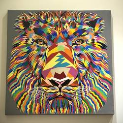 the lion, 30 x 30 inch, viraj patel,30x30inch,canvas,abstract paintings,wildlife paintings,figurative paintings,modern art paintings,animal paintings,contemporary paintings,acrylic color,GAL02701838531