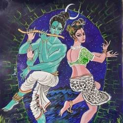 purush & prakriti in a devine dance, 11 x 14 inch, indranil das,11x14inch,drawing paper,paintings,religious paintings,radha krishna paintings,love paintings,lord shiva paintings,paintings for dining room,paintings for living room,acrylic color,ball point pen,GAL02693638543