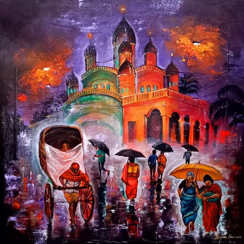 rainy day in kolkata #14, 30 x 30 inch, arjun das,30x30inch,canvas,paintings,cityscape paintings,paintings for dining room,paintings for living room,paintings for bedroom,paintings for office,paintings for hotel,acrylic color,wood,GAL011238548