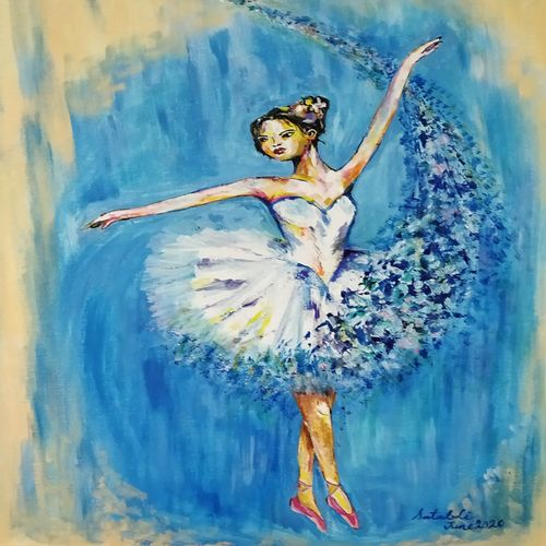 ballerina in acrylics, 16 x 20 inch, satabdi roy,16x20inch,canvas board,paintings,abstract paintings,art deco paintings,contemporary paintings,paintings for dining room,paintings for living room,paintings for bedroom,paintings for office,paintings for hotel,acrylic color,GAL01778738550