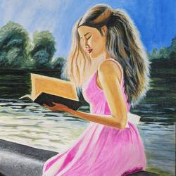 a girl reading book at the river side, 18 x 24 inch, vimal dhale,18x24inch,canvas,paintings,portrait paintings,paintings for dining room,paintings for living room,paintings for bedroom,paintings for office,paintings for hotel,paintings for school,paintings for hospital,acrylic color,GAL02624838552