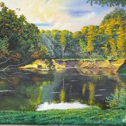 silence of river side, 24 x 18 inch, sarabjit singh,24x18inch,canvas,paintings,nature paintings | scenery paintings,oil color,GAL02545438553