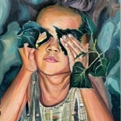 look into my eyes and hear what  i'm not saying, 6 x 9 inch, heera ahmad,6x9inch,thick paper,paintings,nature paintings | scenery paintings,paintings for living room,acrylic color,GAL02655238554