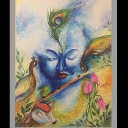 lord krishna, 8 x 12 inch, mansi arora,8x12inch,paper,paintings,religious paintings,paintings for dining room,paintings for living room,paintings for bedroom,paintings for office,paintings for hotel,paintings for school,paintings for dining room,paintings for living room,paintings for bedroom,paintings for office,paintings for hotel,paintings for school,pastel color,GAL02092838556