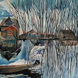 kashmir (blue period), 10 x 14 inch, heera ahmad,10x14inch,thick paper,paintings,landscape paintings,paintings for living room,acrylic color,GAL02655238559