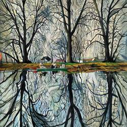 char chinar -kashmir, 15 x 13 inch, heera ahmad,15x13inch,fabriano sheet,paintings,abstract paintings,paintings for dining room,paintings for living room,paintings for bedroom,acrylic color,GAL02655238564