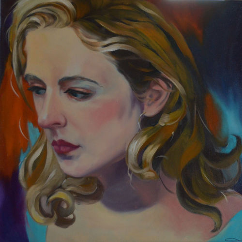 oil  of a beauty, 20 x 18 inch, usha p,figurative paintings,paintings for living room,canvas,oil,20x18inch,GAL014123857