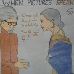 when picture speaks(amitabh and rekha), 11 x 17 inch, neha saini,11x17inch,drawing paper,drawings,paintings for office,portrait drawings,paintings for office,pen color,GAL02682538580
