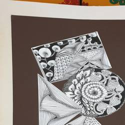 geometric zentangle , 9 x 12 inch, pooja ajmera,9x12inch,thick paper,drawings,art deco drawings,paintings for dining room,paintings for bedroom,paintings for office,paintings for hotel,paintings for kitchen,paintings for school,paintings for hospital,pen color,GAL02709138581