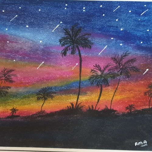 shooting stars , 9 x 12 inch, pooja ajmera,9x12inch,thick paper,paintings,landscape paintings,paintings for dining room,paintings for living room,paintings for bedroom,paintings for office,paintings for kids room,paintings for hotel,paintings for kitchen,paintings for school,paintings for hospital,pastel color,pen color,GAL02709138584