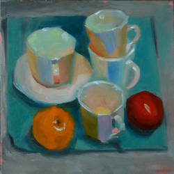 tea cups, 8 x 8 inch, usha p,still life paintings,paintings for dining room,canvas board,oil,8x8inch,GAL014123859
