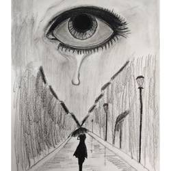 alone..., charcoal sketch, 21 x 30 inch, pruthiraj baisak,21x30inch,drawing paper,drawings,abstract drawings,abstract expressionism drawings,art deco drawings,conceptual drawings,fine art drawings,modern drawings,charcoal,pen color,pencil color,ball point pen,paper,GAL02663938590