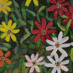 backyard flowers, 12 x 8 inch, vagad joseph,12x8inch,canvas,paintings,flower paintings,modern art paintings,conceptual paintings,nature paintings | scenery paintings,impressionist paintings,realism paintings,paintings for dining room,paintings for living room,paintings for bedroom,paintings for office,paintings for kids room,paintings for hotel,paintings for school,paintings for hospital,acrylic color,GAL02685638593