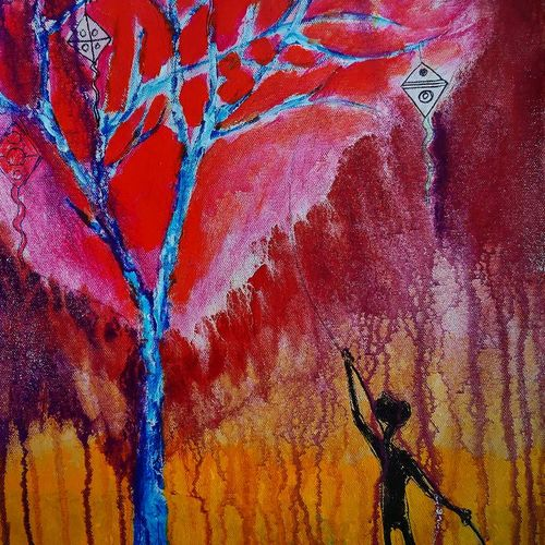 dream catcher tree 2, 8 x 12 inch, vagad joseph,8x12inch,canvas,paintings,abstract paintings,modern art paintings,conceptual paintings,contemporary paintings,paintings for dining room,paintings for living room,paintings for bedroom,paintings for office,paintings for hotel,paintings for hospital,acrylic color,GAL02685638594