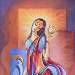 maa laxmi, 12 x 24 inch, suman verma,12x24inch,canvas,paintings,religious paintings,acrylic color,GAL02514638596