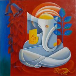 ganapati, 18 x 18 inch, suman verma,18x18inch,canvas,paintings,religious paintings,ganesha paintings | lord ganesh paintings,acrylic color,GAL02514638598