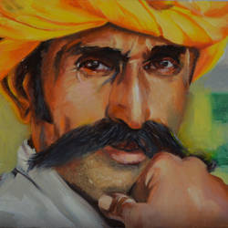 rajastani, 10 x 8 inch, usha p,portrait paintings,paintings for living room,canvas board,oil,10x8inch,GAL014123860