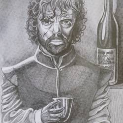 i drink and i know things, 11 x 12 inch, indranil das,11x12inch,drawing paper,drawings,figurative drawings,portrait drawings,paintings for dining room,paintings for living room,ball point pen,graphite pencil,GAL02693638601