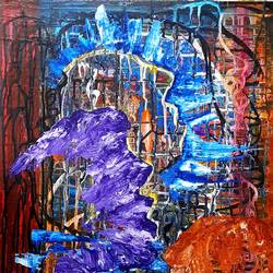 longing faces, 24 x 36 inch, musolini rajagopal,24x36inch,canvas,paintings,abstract paintings,acrylic color,GAL01311938602
