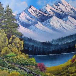 mighty mountains, 36 x 24 inch, arun  karara,36x24inch,canvas,paintings,landscape paintings,nature paintings | scenery paintings,paintings for living room,paintings for living room,oil color,GAL02694038617