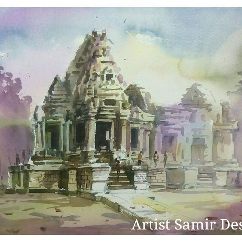 pink landscape-4, 21 x 15 inch, samir deshmukh,landscape paintings,paintings for living room,handmade paper,watercolor,21x15inch,GAL02523862