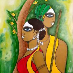 tribal marriage couple, 22 x 27 inch, ved prakash,22x27inch,paper,paintings,folk art paintings,paintings for dining room,paintings for living room,paintings for bedroom,oil color,GAL01692238623
