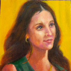 lady on yellow, 6 x 6 inch, usha p,portrait paintings,paintings for bedroom,canvas board,oil,6x6inch,GAL014123863