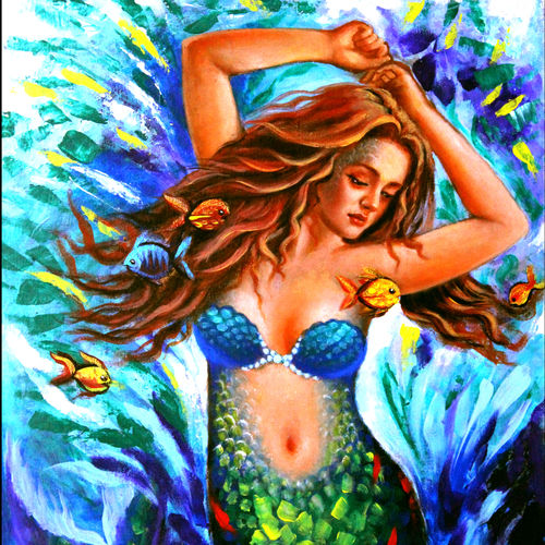 beautiful water nymph, 18 x 24 inch, seema  dasan,18x24inch,canvas,paintings,abstract paintings,figurative paintings,paintings for living room,paintings for bedroom,paintings for hotel,acrylic color,oil color,GAL014138639