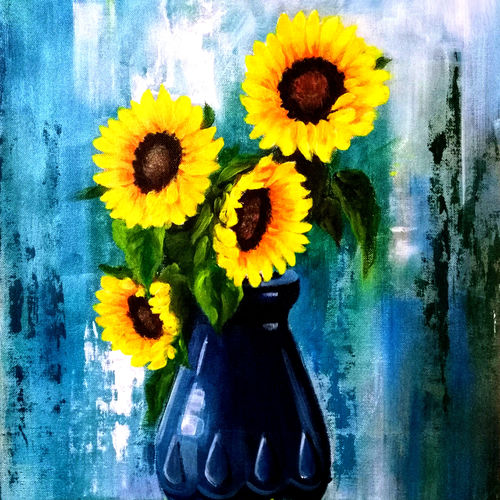 sunflowers in blue vase, 13 x 15 inch, seema  dasan,13x15inch,canvas,paintings,abstract paintings,flower paintings,paintings for dining room,paintings for living room,paintings for office,paintings for hotel,acrylic color,GAL014138641