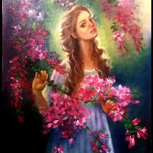 pink bougainvillea, 18 x 30 inch, seema  dasan,18x30inch,canvas,paintings,figurative paintings,flower paintings,nature paintings   scenery paintings,paintings for dining room,paintings for living room,paintings for hotel,oil color,GAL014138642