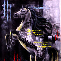 abstract grey horse, 18 x 24 inch, seema dasan,18x24inch,canvas,paintings,abstract paintings,wildlife paintings,horse paintings,paintings for dining room,paintings for living room,paintings for office,paintings for hotel,paintings for dining room,paintings for living room,paintings for office,paintings for hotel,acrylic color,GAL014138645