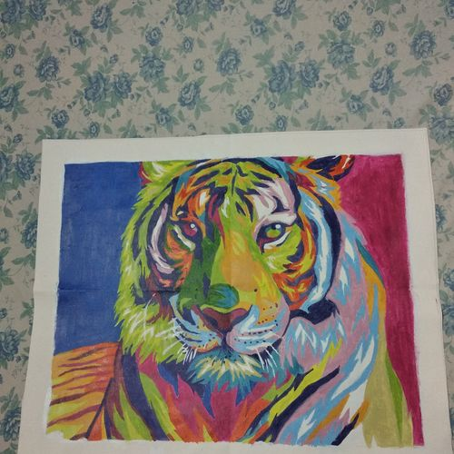 majestic tiger portrait, 16 x 20 inch, rashmi p,16x20inch,canvas,paintings,wildlife paintings,paintings for dining room,paintings for living room,paintings for bedroom,paintings for office,paintings for hotel,paintings for dining room,paintings for living room,paintings for bedroom,paintings for office,paintings for hotel,acrylic color,GAL02716838648