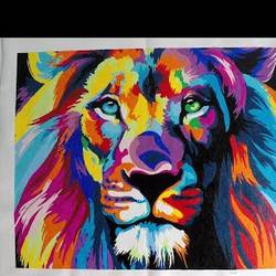 predator lion, 20 x 16 inch, rashmi p,20x16inch,cloth,paintings,wildlife paintings,paintings for dining room,paintings for living room,paintings for bedroom,paintings for office,paintings for hotel,acrylic color,GAL02716838649