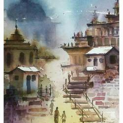 landscape-6, 15 x 21 inch, samir deshmukh,landscape paintings,paintings for living room,handmade paper,watercolor,15x21inch,GAL02523865