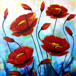 red flowers, 16 x 18 inch, seema dasan,16x18inch,canvas,paintings,abstract paintings,flower paintings,paintings for dining room,paintings for living room,paintings for office,paintings for hotel,acrylic color,GAL014138650