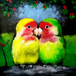 lovebirds, 12 x 15 inch, seema dasan,12x15inch,canvas,paintings,abstract paintings,wildlife paintings,paintings for dining room,paintings for living room,paintings for bedroom,paintings for office,paintings for hotel,acrylic color,GAL014138652