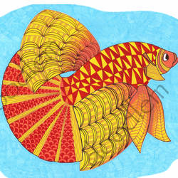 patterned fish, 8 x 12 inch, elizabeth jerome,8x12inch,thick paper,paintings,abstract paintings,illustration paintings,animal paintings,contemporary paintings,paintings for dining room,paintings for living room,paintings for bedroom,paintings for office,paintings for kids room,paintings for hotel,paintings for hospital,mixed media,watercolor,paper,GAL02717038655