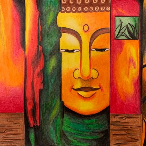 buddha fusion piece of art, 13 x 10 inch, shreya khandelwal,13x10inch,drawing paper,drawings,buddha drawings,paintings for dining room,paintings for living room,paintings for office,pencil color,paper,GAL02716438656