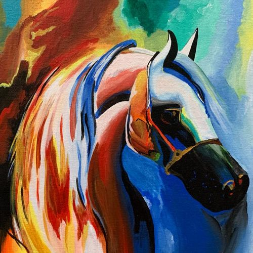 rainbow horse, 14 x 12 inch, shreya khandelwal,14x12inch,canvas,paintings,abstract paintings,horse paintings,paintings for dining room,paintings for living room,paintings for bedroom,paintings for office,acrylic color,GAL02716438657